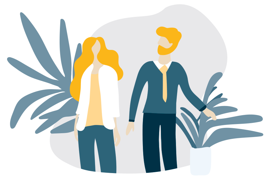 two people consulting illustration